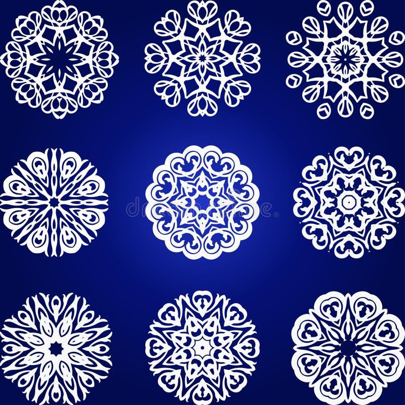 Grupo decorativo do vetor dos flocos de neve, elemento floral ilustração do vetor