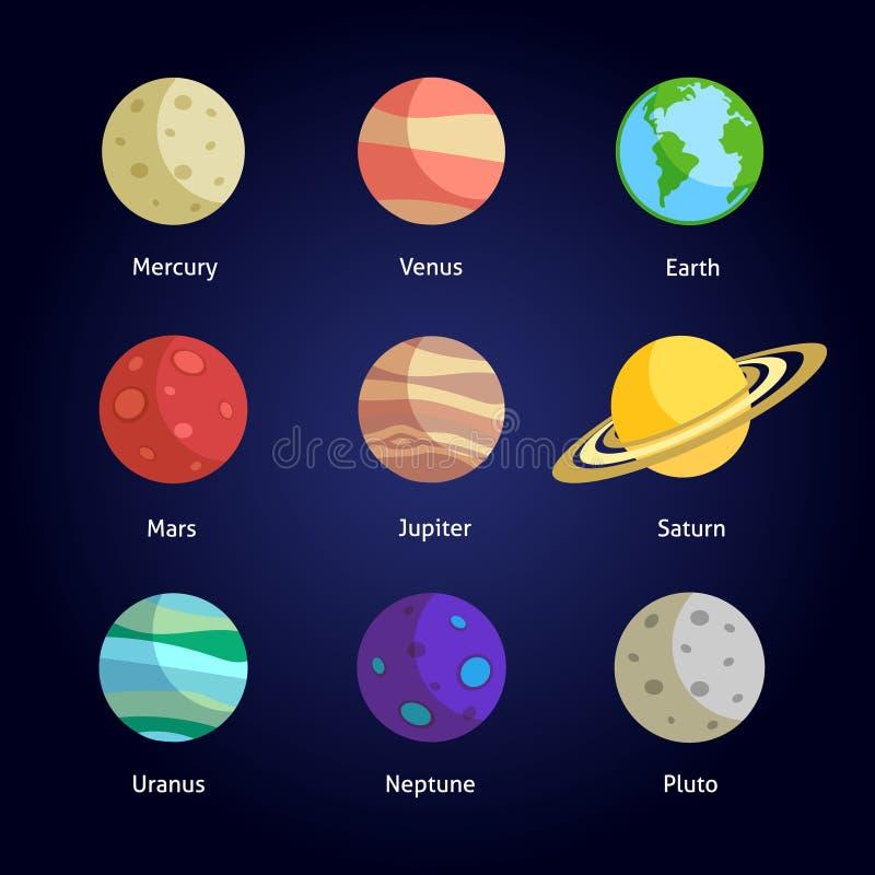 Grupo decorativo dos planetas ilustração royalty free