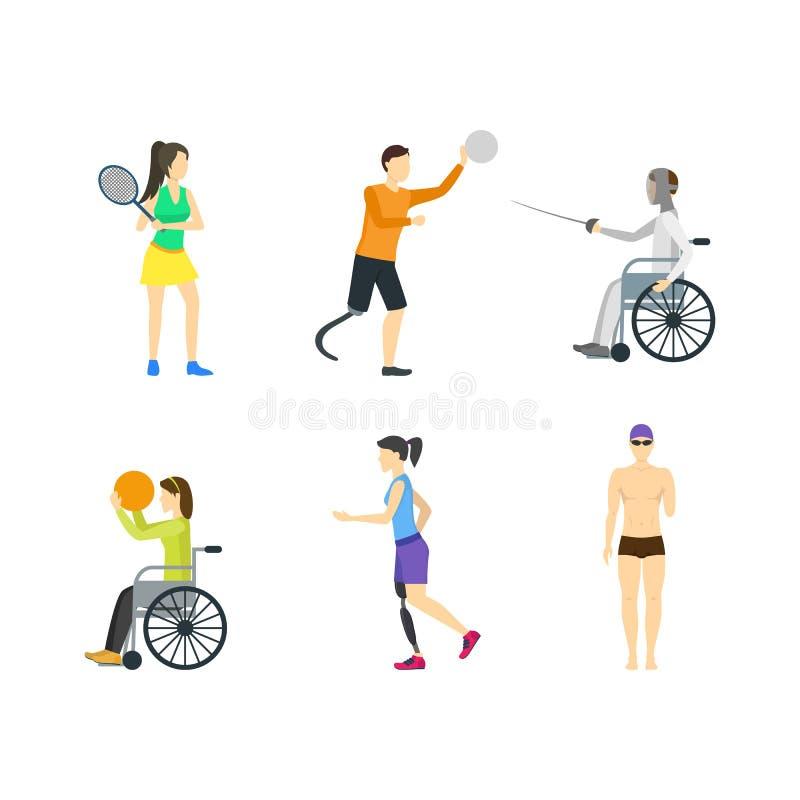 Grupo deficiente do ícone dos caráteres dos esportes dos desenhos animados Vetor ilustração stock