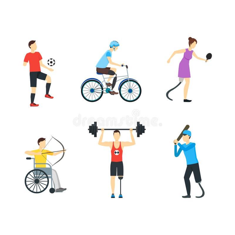 Grupo deficiente do ícone dos caráteres dos esportes dos desenhos animados Vetor ilustração do vetor