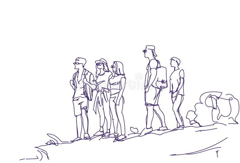 Grupo del bosquejo de gente de los viajeros con el equipo abstracto dibujado mano de los turistas de los caminantes de las mochil ilustración del vector