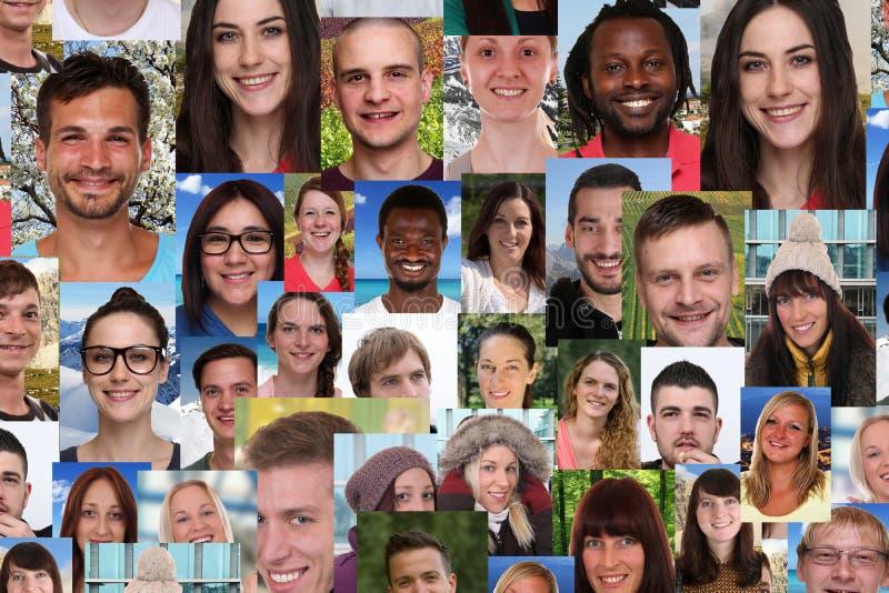 Grupo del collage del fondo de la gente sonriente joven multirracial soc foto de archivo libre de regalías