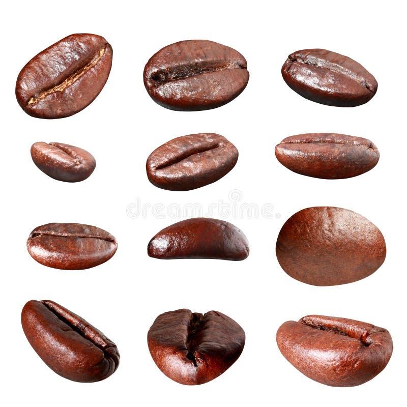 Grupo del grano de café aislado imagenes de archivo