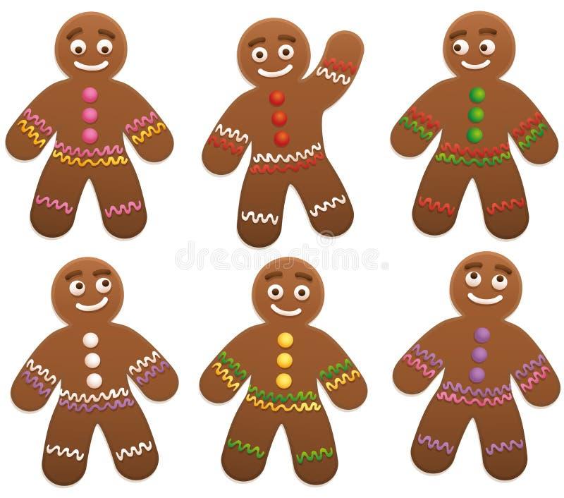 Grupo del hombre de pan de jengibre stock de ilustración