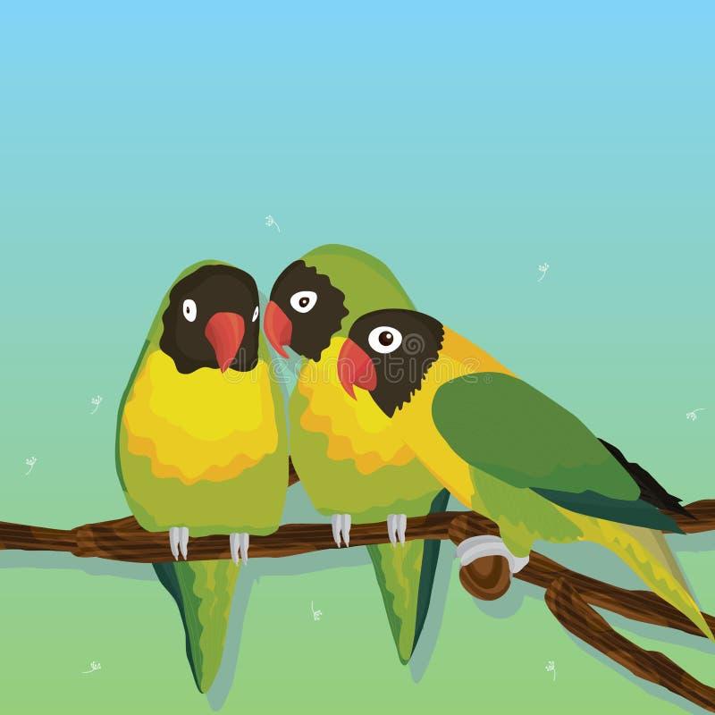 Grupo del pájaro del loro stock de ilustración