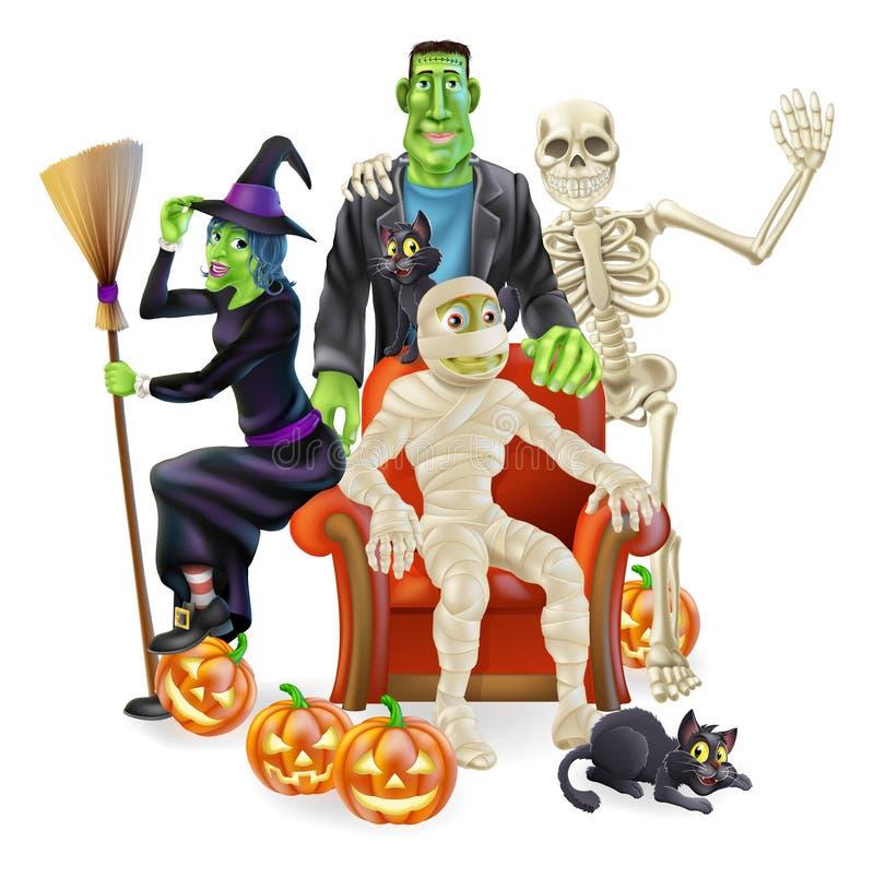 Grupo del partido de Halloween ilustración del vector