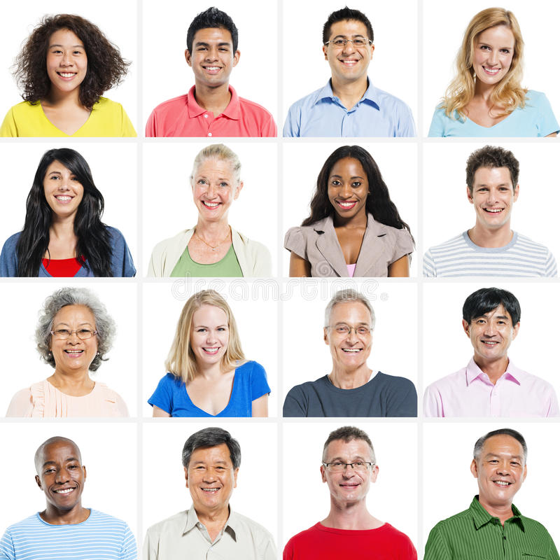 Grupo del retrato de sonrisa multiétnica de la gente fotos de archivo