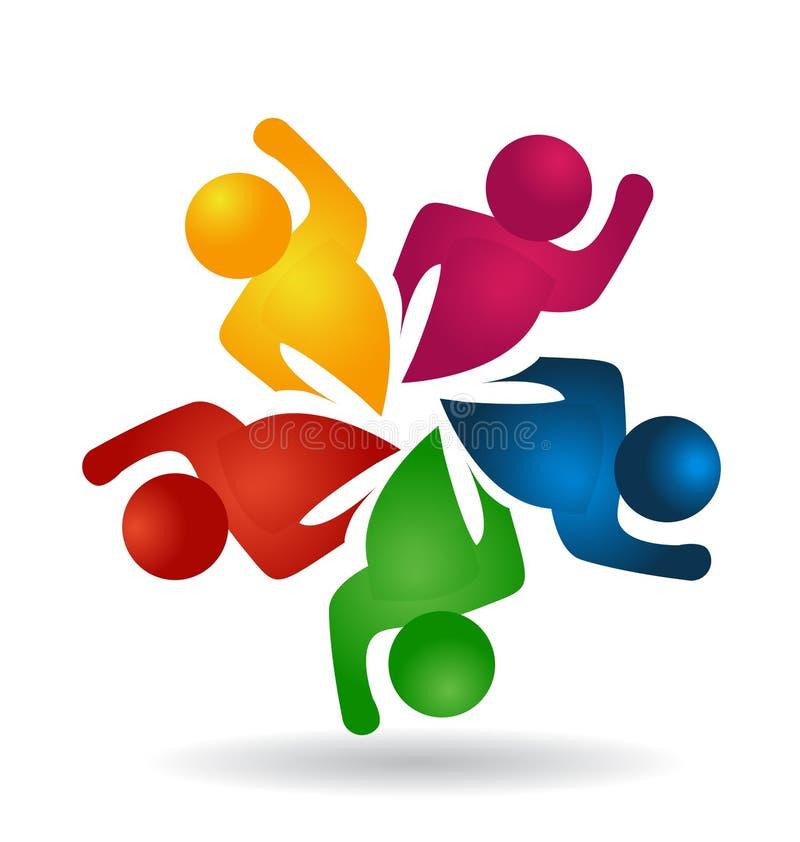 Grupo del trabajo en equipo de logotipo enérgico del icono de la gente ilustración del vector