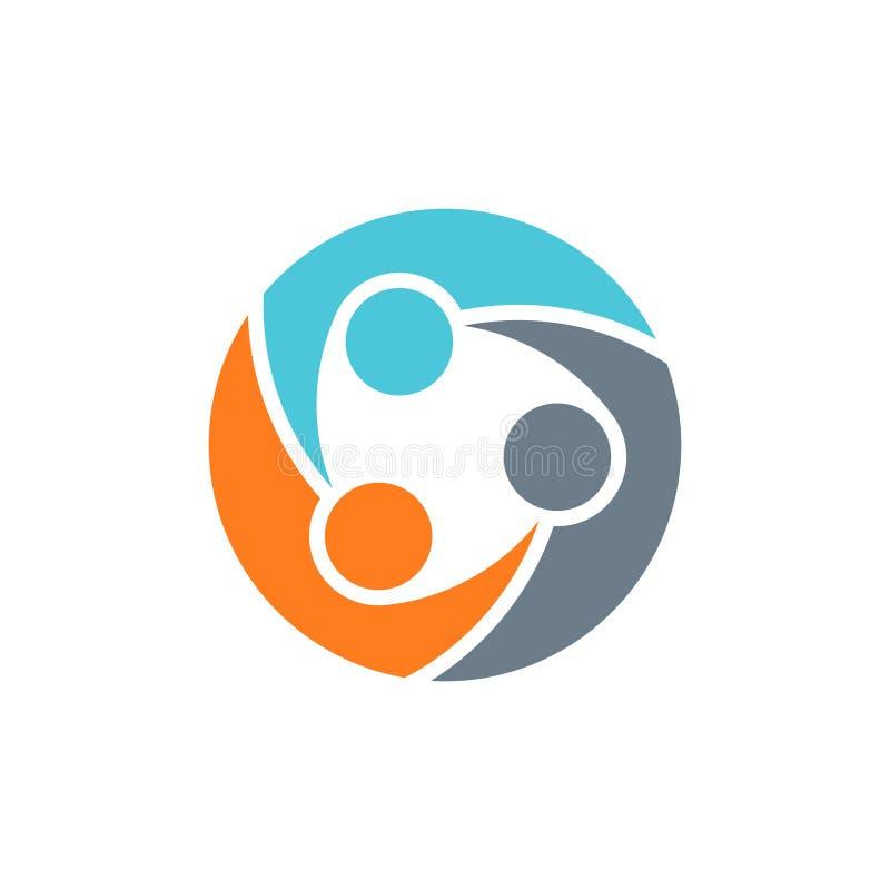 Grupo del trabajo en equipo de logotipo de tres personas ilustración del vector