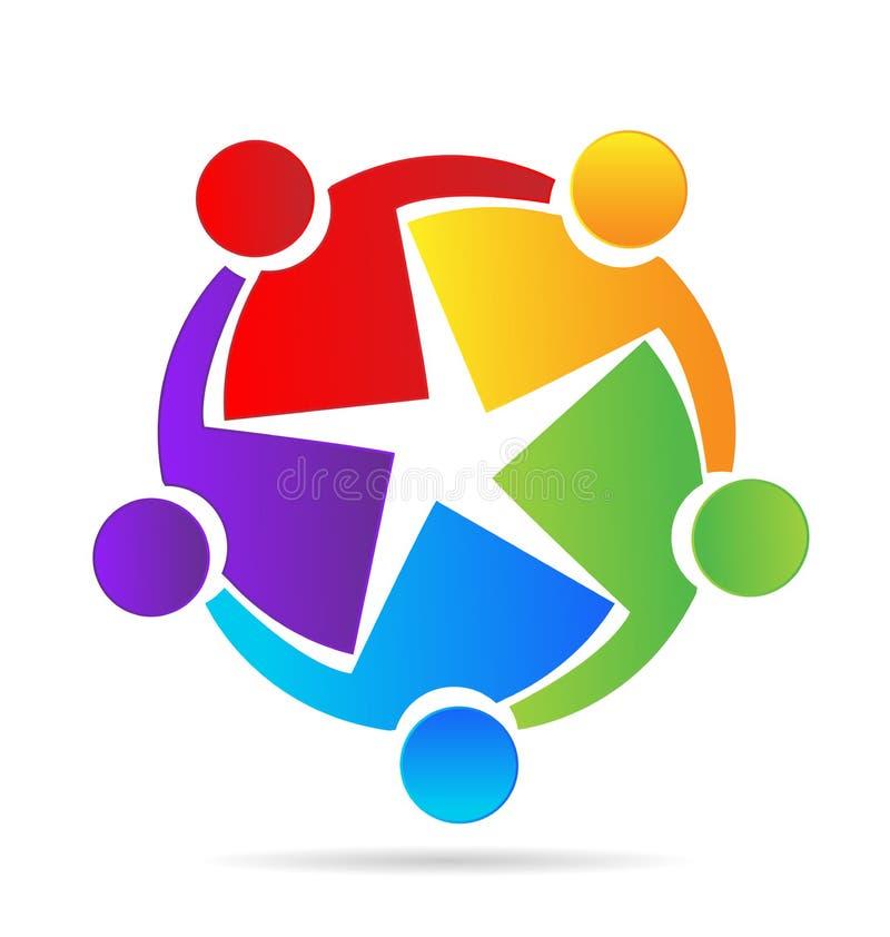 Grupo del trabajo en equipo que trabaja junto el icono stock de ilustración
