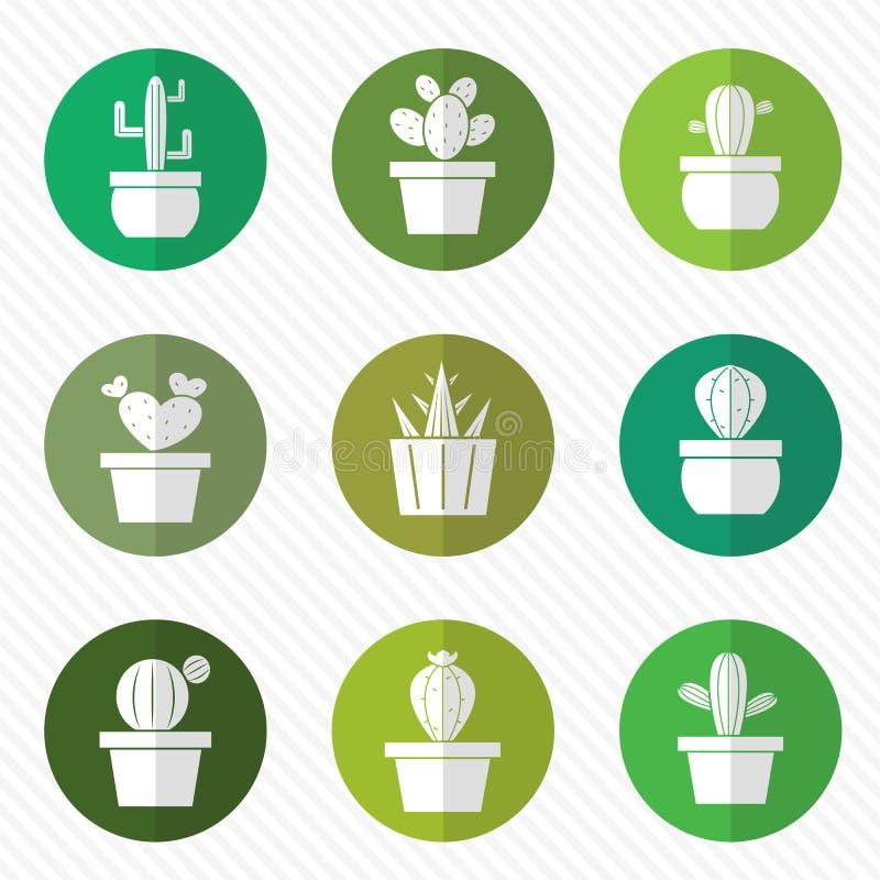Grupo del vector de cactus en el círculo stock de ilustración