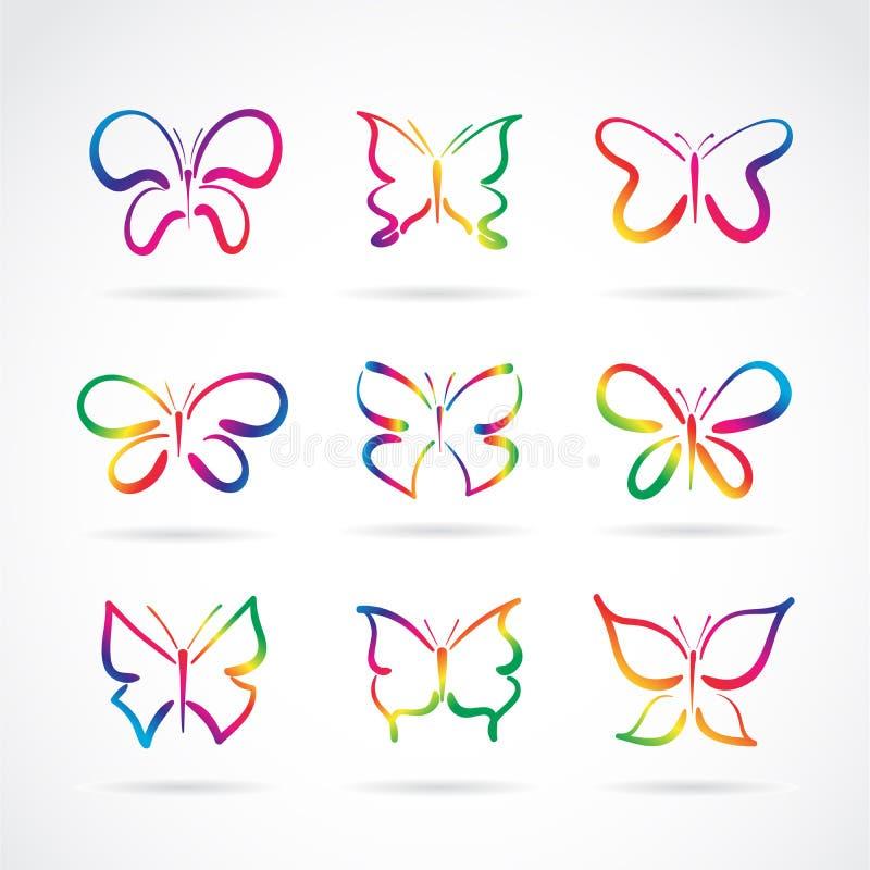 Grupo del vector de mariposas exhaustas de la mano en el fondo blanco Icono de la mariposa insecto Animal Vector acodado editable ilustración del vector
