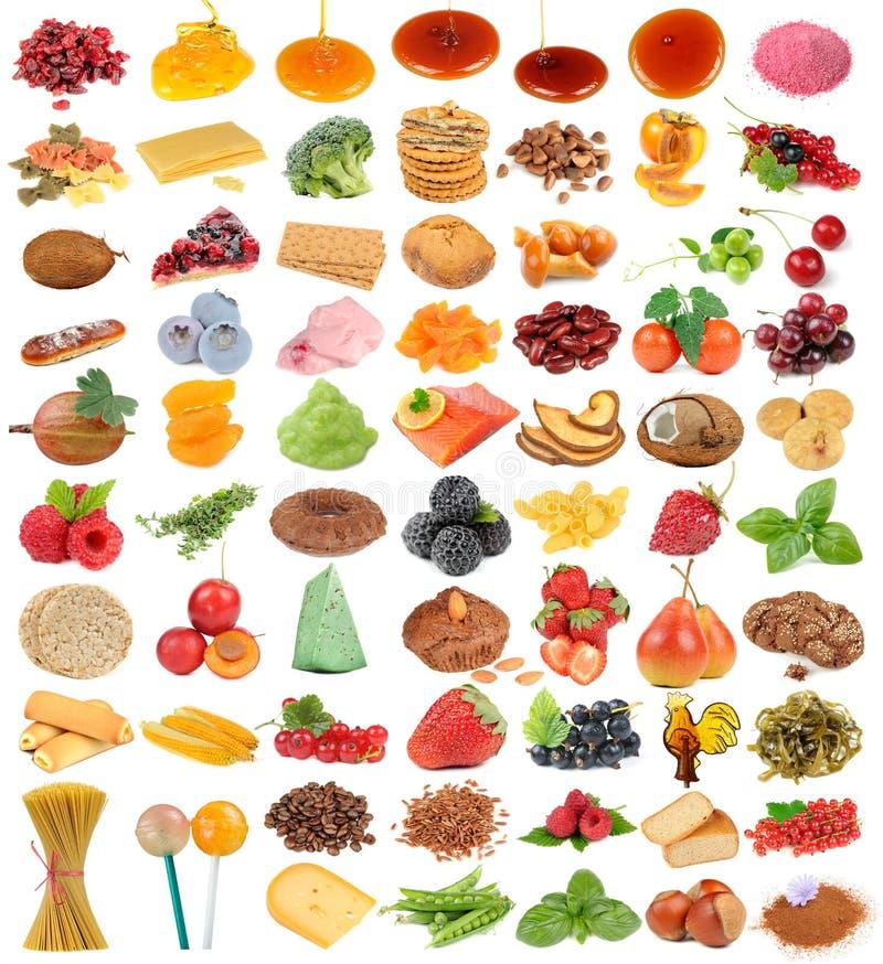 Grupo delicioso e saudável do alimento isolado no fundo branco foto de stock royalty free