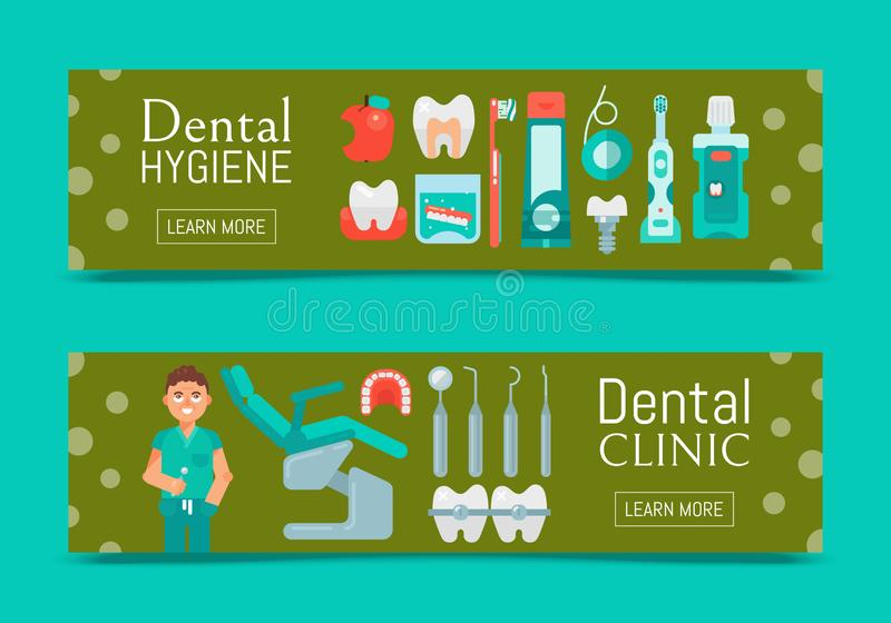 Grupo dental da clínica de ilustração do vetor das bandeiras Design web dos cuidados dent?rios Ajuste das ferramentas e do equipa ilustração do vetor