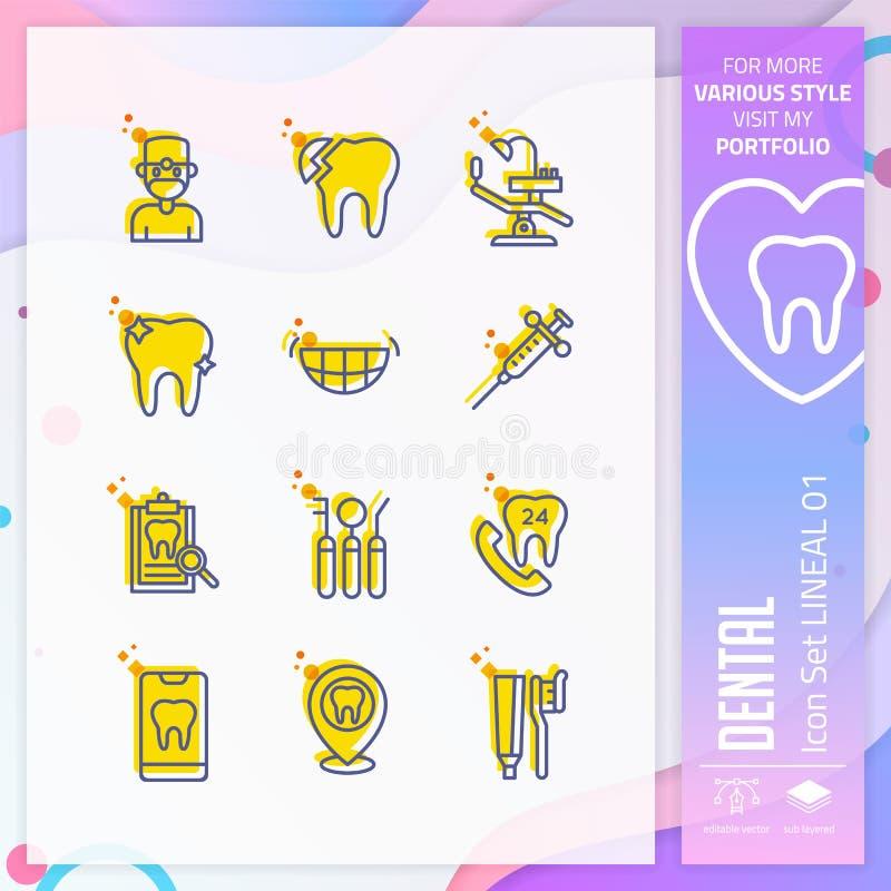 Grupo dental do ícone com estilo em linha direta para a clínica dental O pacote do ?cone dos cuidados m?dicos pode usar-se para o ilustração stock