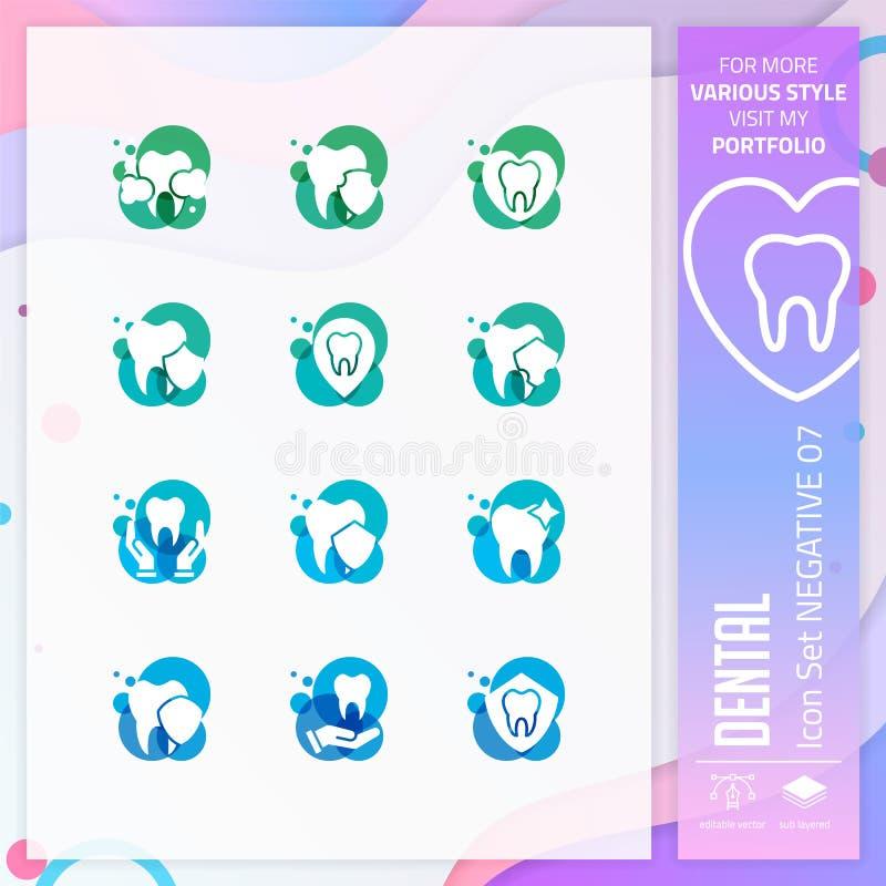 Grupo dental do ícone com estilo do glyph para a clínica dental O pacote do ícone dos cuidados médicos pode usar-se para o Web si ilustração do vetor