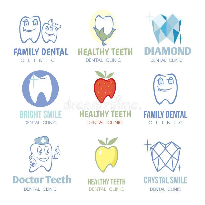 Grupo dental e do stomatology dos logotipos do vetor ilustração do vetor