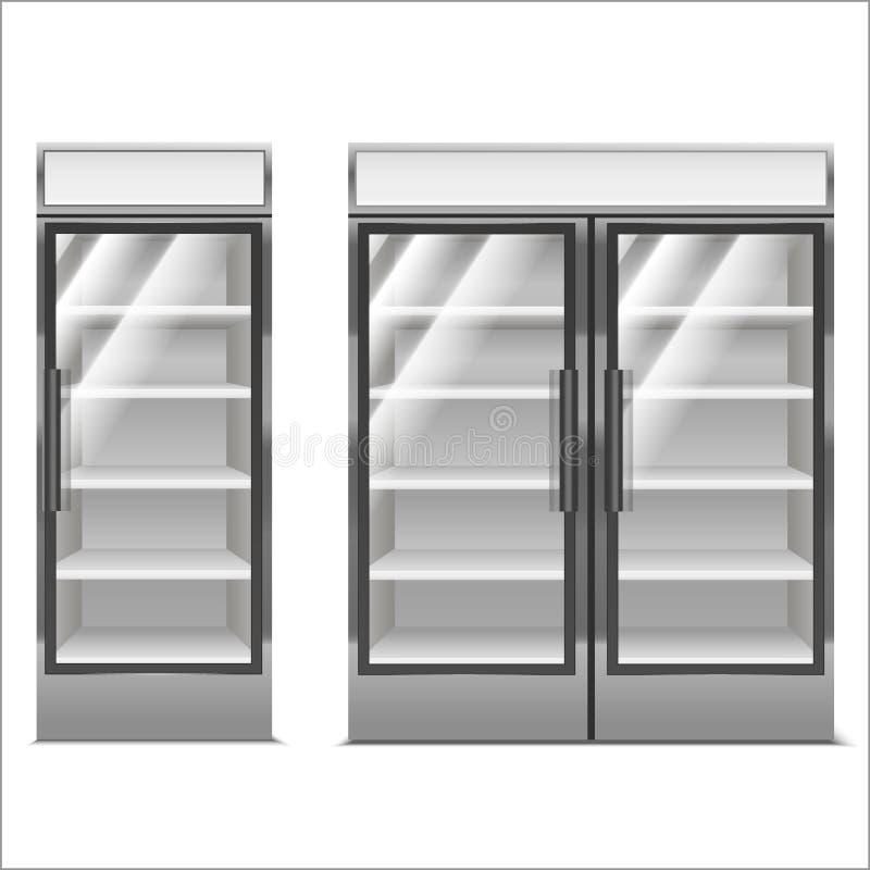 Grupo detalhado realístico do congelador do supermercado 3d Vetor ilustração stock