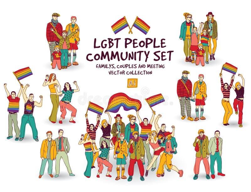 Grupo determinado de la comunidad de la gente de Lgbt stock de ilustración