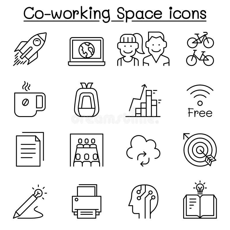 grupo detrabalho do ícone do espaço na linha estilo fina ilustração stock