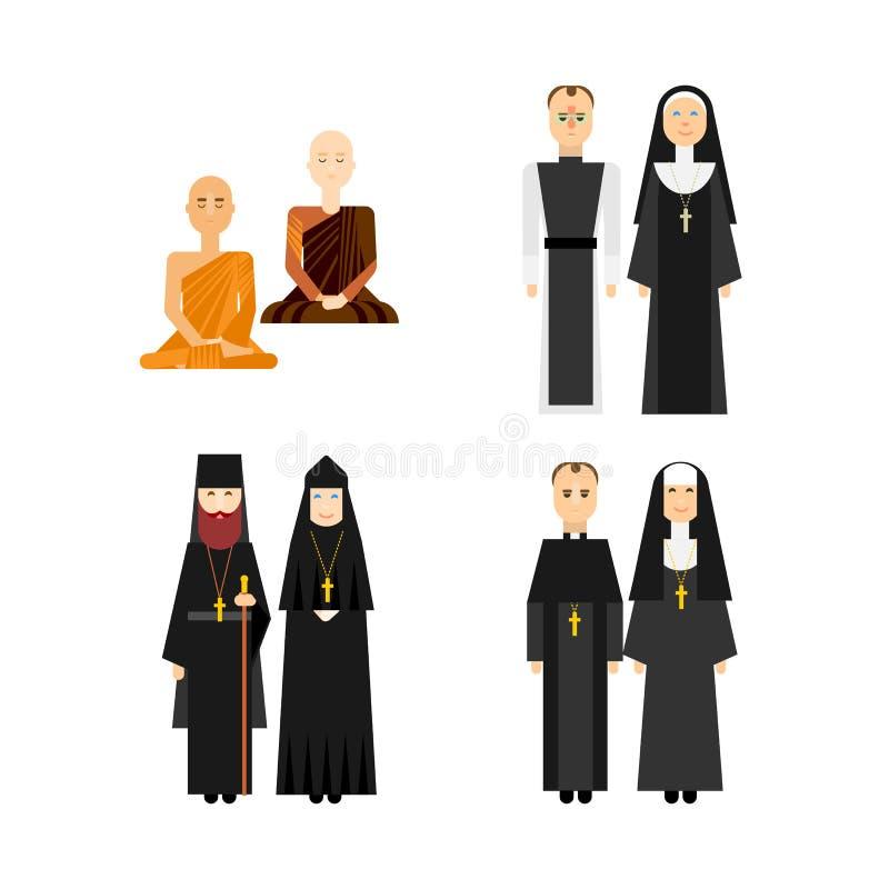Grupo diferente da monge da religião ilustração stock