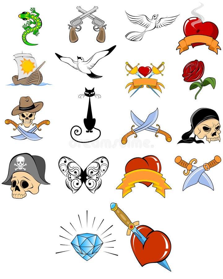 Grupo diferente da tatuagem ilustração royalty free