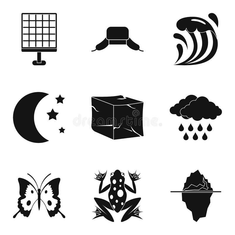 Grupo diferente do ícone da estação, estilo simples ilustração stock