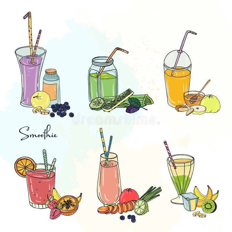 Grupo diferente do batido A coleção do vário verão bebe com frutos, bagas, vegetais Bebida colorida dentro ilustração royalty free