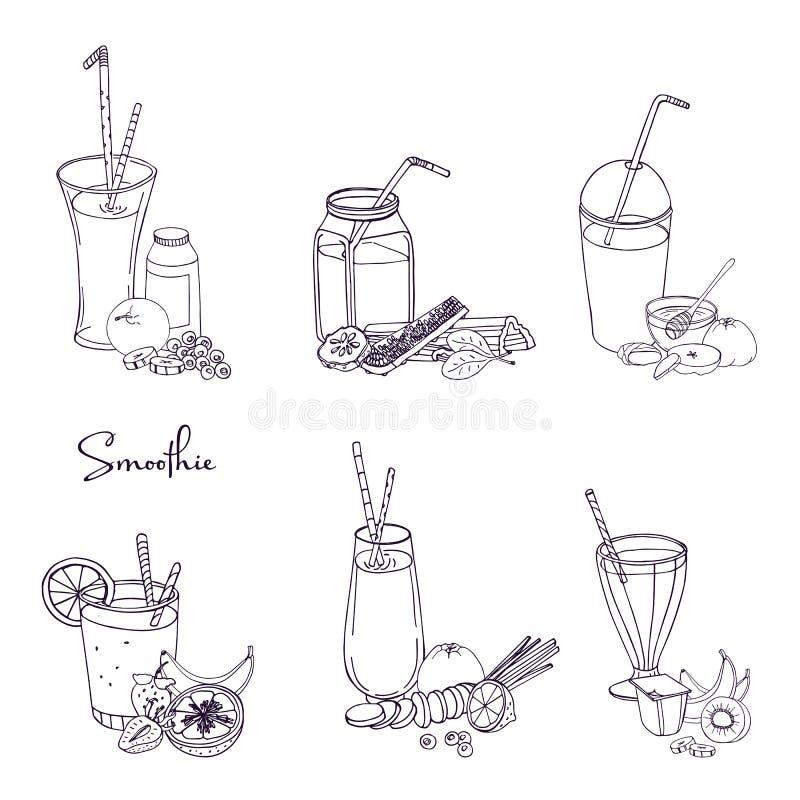 Grupo diferente do batido A coleção do vário verão bebe com frutos, bagas, vegetais Vetor desenhado mão ilustração do vetor