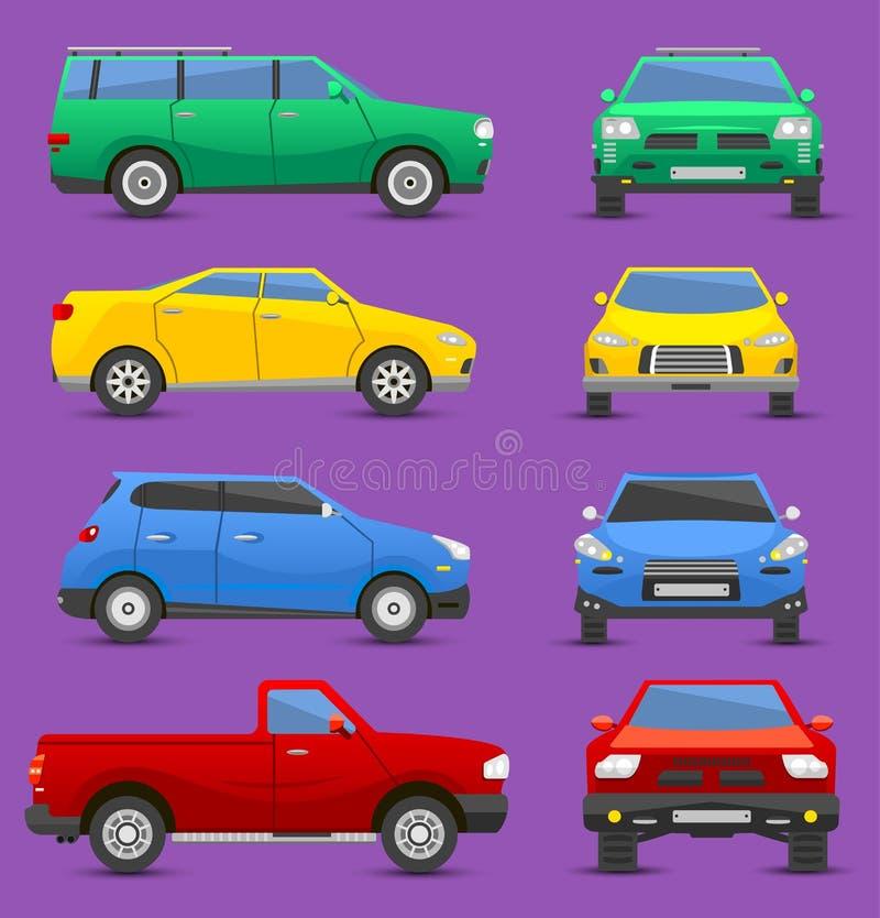 Grupo diferente do vetor do transporte do veículo da cidade dos carros de vista dianteira e lateral ilustração stock