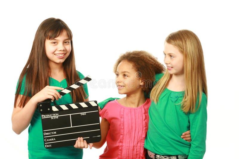 Grupo diverso de atores da menina imagens de stock royalty free