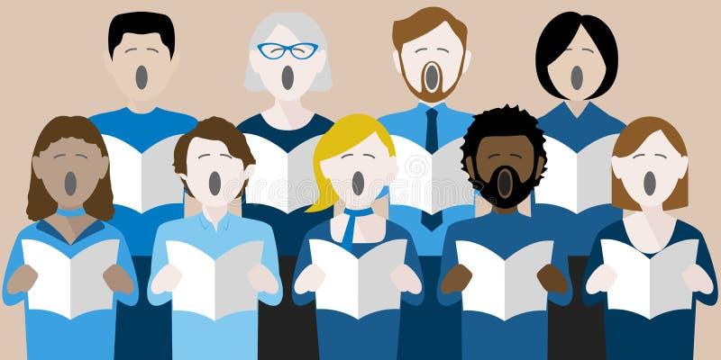 Grupo diverso de cantantes adultos del coro libre illustration