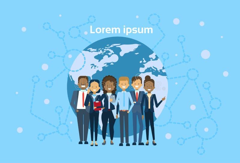 Grupo diverso de empresarios sobre del mapa del mundo de Team Concept del globo los hombres de negocios internacionales ilustración del vector