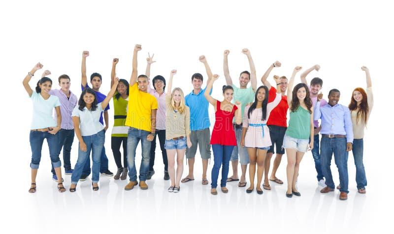 Grupo diverso de estudante Celebrating imagem de stock royalty free