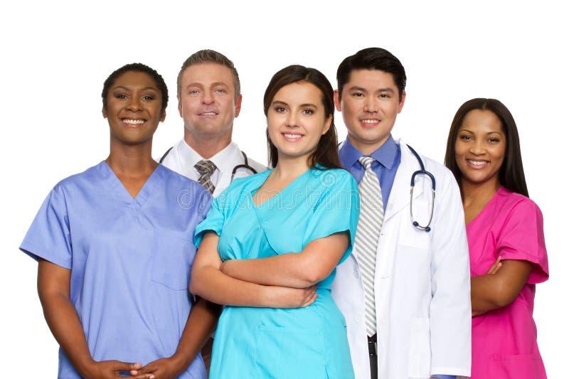 Grupo diverso de fornecedores de serviços de saúde imagens de stock
