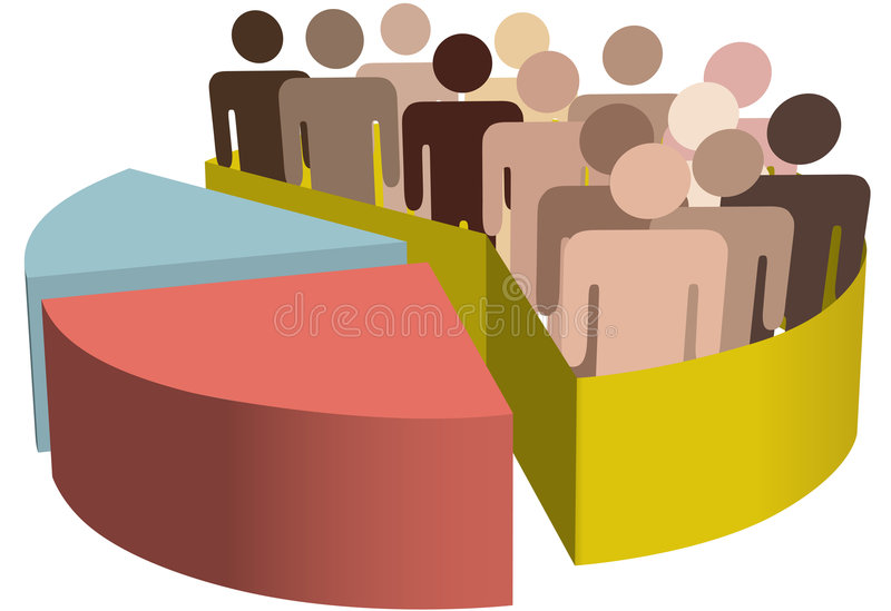 Grupo diverso de gente del símbolo como datos en una carta stock de ilustración