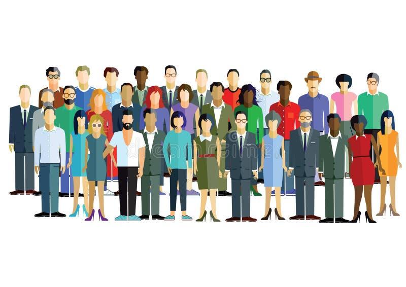 Grupo diverso de homens e de mulheres ilustração do vetor