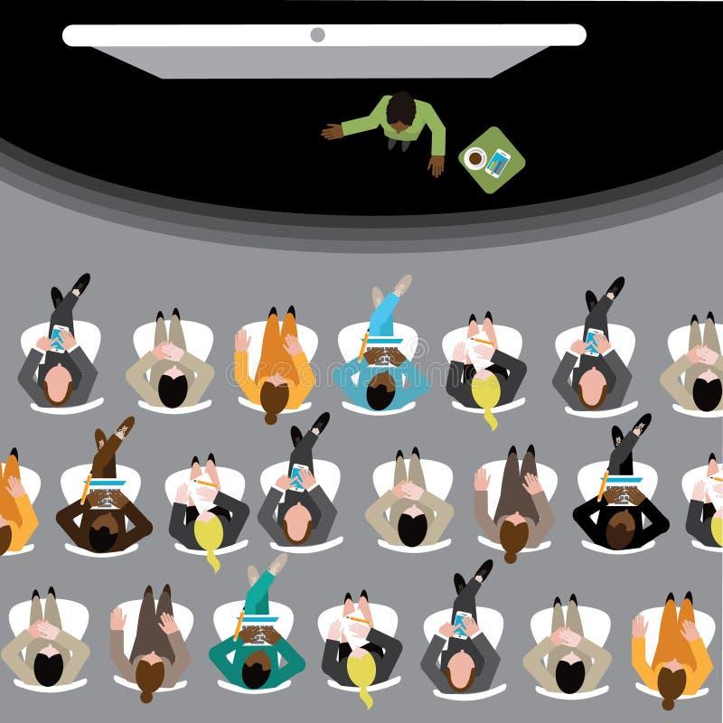 Grupo diverso de homens e de mulheres de negócio que assistem a uma grande conferência ilustração stock