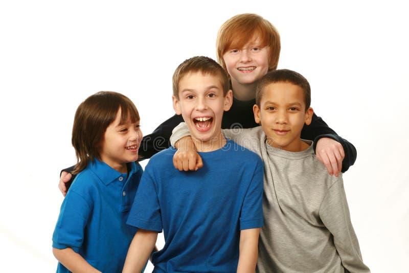 Grupo diverso de meninos fotografia de stock