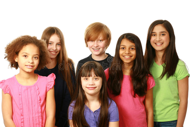 Grupo diverso de meninos e de meninas imagem de stock