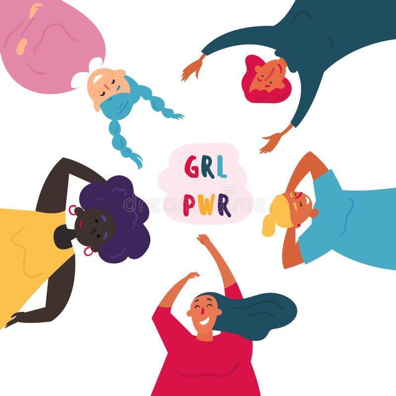 Grupo diverso de mulheres feminine Poder da menina ilustração do vetor