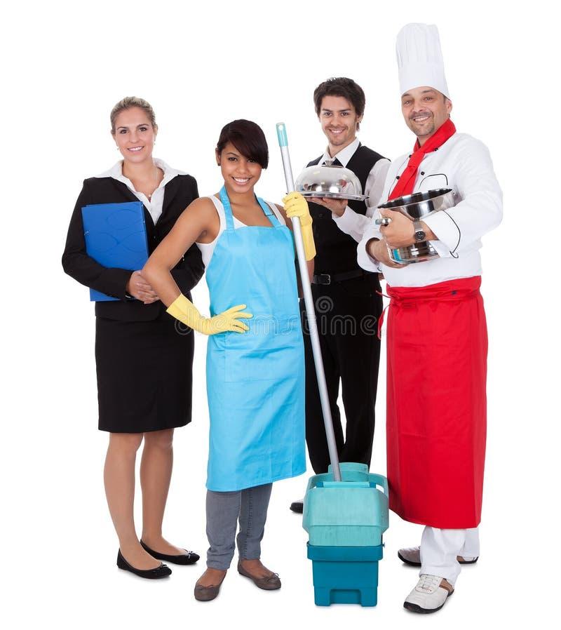 Grupo diverso de trabalhadores de sorriso imagem de stock royalty free