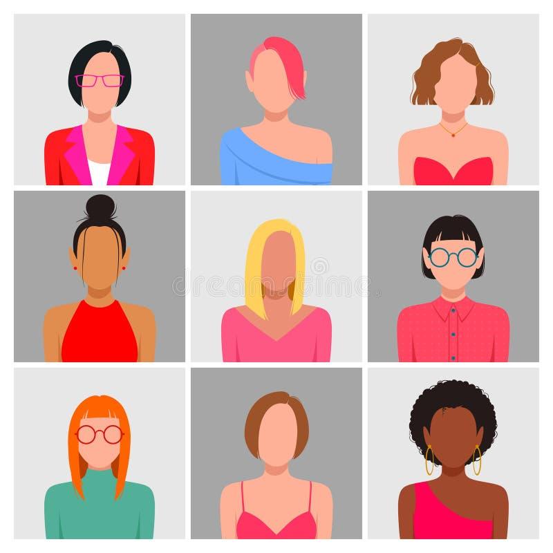Grupo diverso do avatar dos povos ilustração do vetor