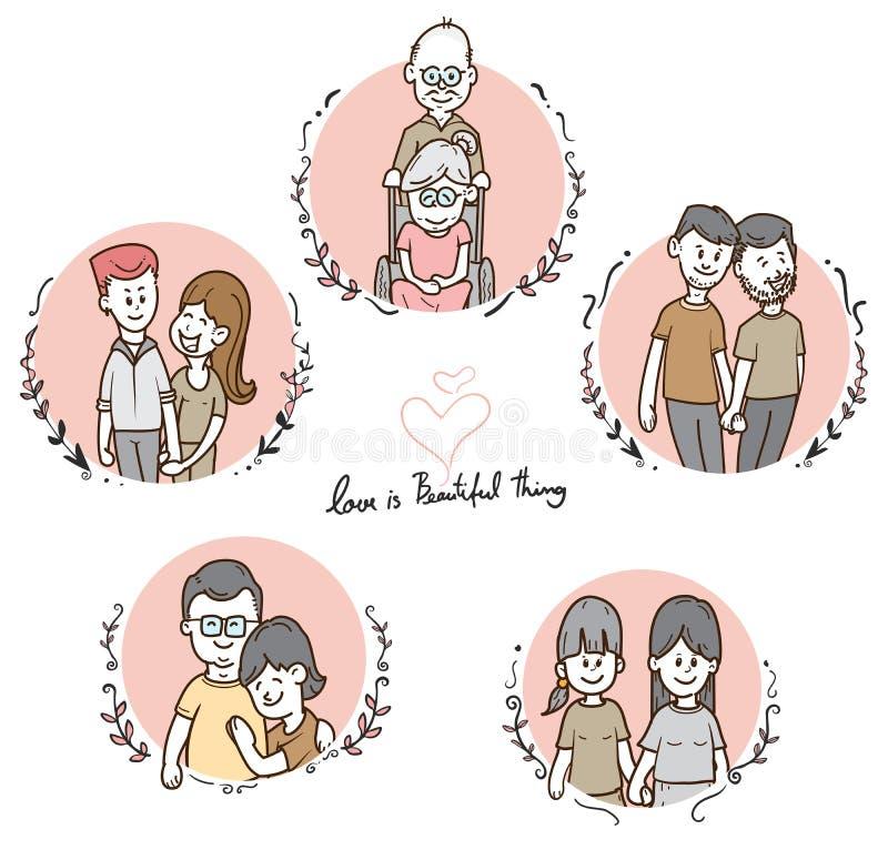 Grupo diverso dos pares dos desenhos animados bonitos, raça e alegre misturados, ilustração do conceito de LGBT, vetor ilustração do vetor