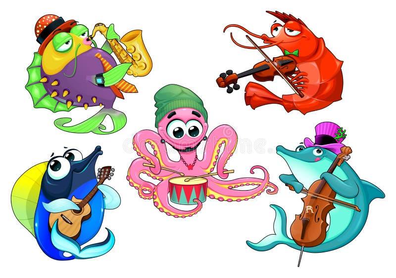 Grupo divertido de animales de mar del músico stock de ilustración