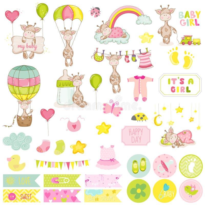 Grupo do álbum de recortes do girafa do bebê ilustração royalty free