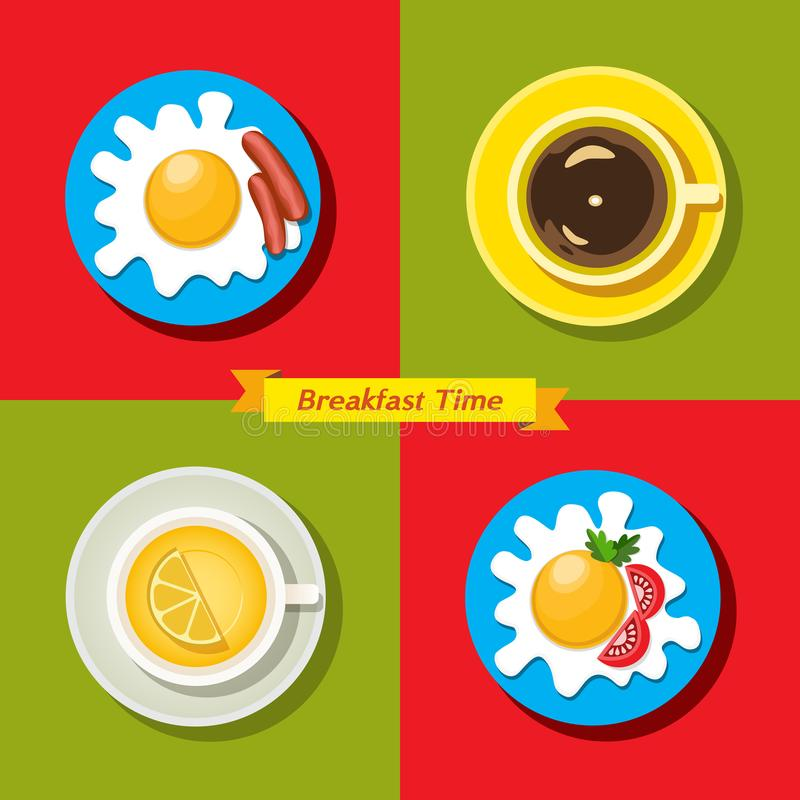 Grupo do ícone do alimento Tempo de café da manhã ilustração do vetor