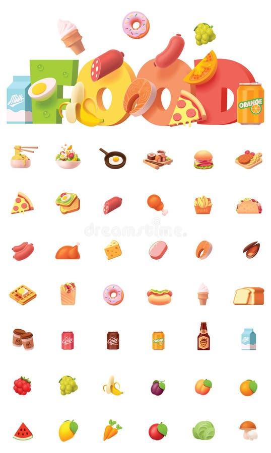 Grupo do ícone do alimento do vetor ilustração stock
