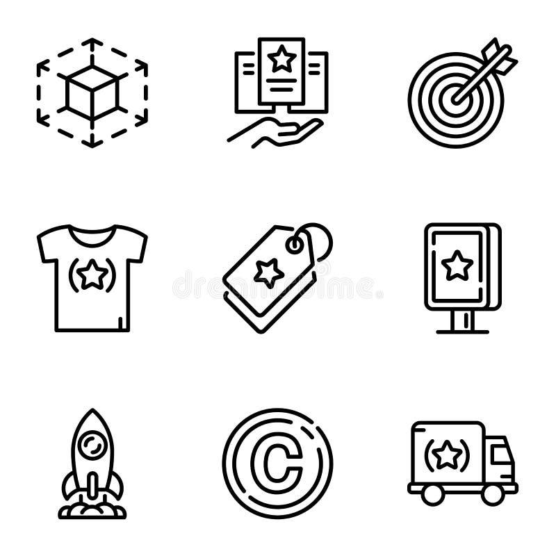Grupo do ícone do alvo do negócio, estilo do esboço ilustração do vetor