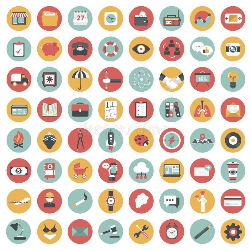 Grupo do ícone do App Ícones para Web site e aplicações móveis liso ilustração stock